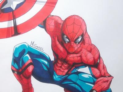 Como dibujar a SPIDERMAN Civil War version manga. how to draw Spiderman Civil War Manga version
