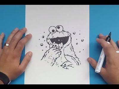 Como dibujar al Monstruo de las galletas paso a paso 2 - Barrios Sesamo   How to draw the Cookie Mon