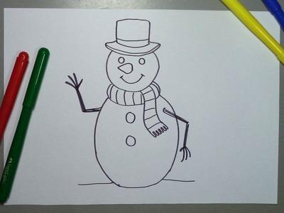 Cómo dibujar paso a paso un Muñeco de nieve para Navidad