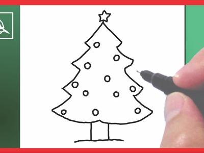 Cómo Dibujar Un Árbol De Navidad - Drawing A Chritmas Tree | Dibujando