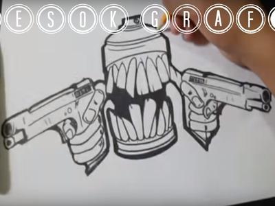 Como dibujar un carácter graffiti paso a paso aerosol y pistola