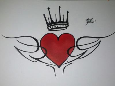 Como Dibujar un Corazón con Tribal y Corona