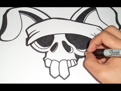 Cómo dibujar un craneo de conejo Graffiti   Wizard art -   ZaXx