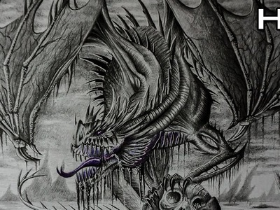 Como dibujar un dragon realista a lapiz paso a paso TUTORIAL De Dibujo
