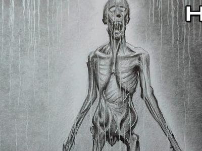 Cómo Dibujar un Monstruo Realista a Lápiz Paso a Paso - Necromorph