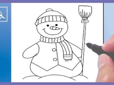 Cómo Dibujar Un Muñeco De Nieve - Drawing a Snowman