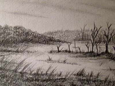 Cómo dibujar un paisaje a lápiz paso a paso, dibujando naturaleza