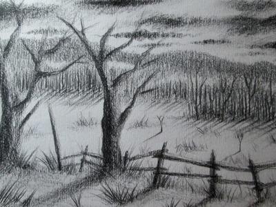 Cómo dibujar un paisaje al carboncillo paso a paso, Tutorial de dibujo