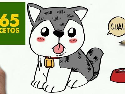 COMO DIBUJAR UN PERRO HUSKY PASO A PASO: Os enseñamos a dibujar un perro fácil para niños