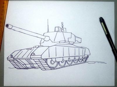 Como dibujar un tanque de guerra T-14 ruso paso a paso