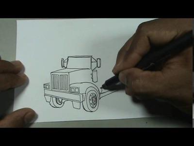 Dibuja paso a paso un camion trailer tractomula - truck
