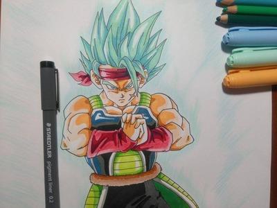 Dibujando a BARDOCK SSJ dios SSJ AZUL. How to  draw Bardock SSJGODSSJ blue hair