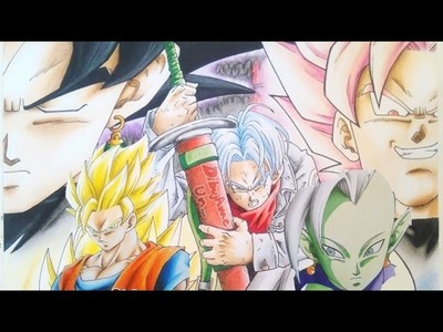 Dibujando a BLACK Ssj ROSE vs TRUNKS y GOKU vs ZAMASU. Drawing Zamasu vs Goku and trunks vs black.