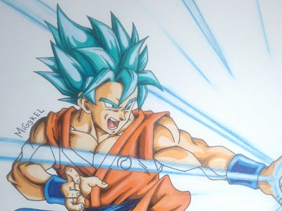 Dibujando a Goku SsgodSs (pelo azul). How to draw Goku Super saiyan god super (blue hair)