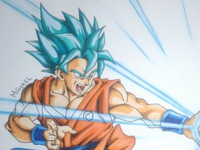 Dibujando a Goku SsgodSs (pelo azul). How to draw Goku Super saiyan god super (blue hair)