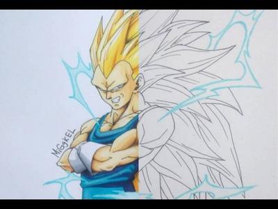Dibujando  VEGETA SUPER SAIYAJIN 3.  SPEED DRAWING Vegeta SUPER saiyan 3