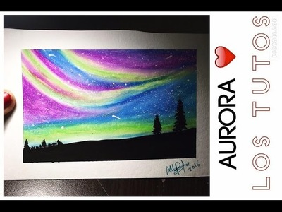 Dibujo con oleo pastel - OIL PASTEL-  SUPER FÁCIL- AURORA Y ESTRELLAS