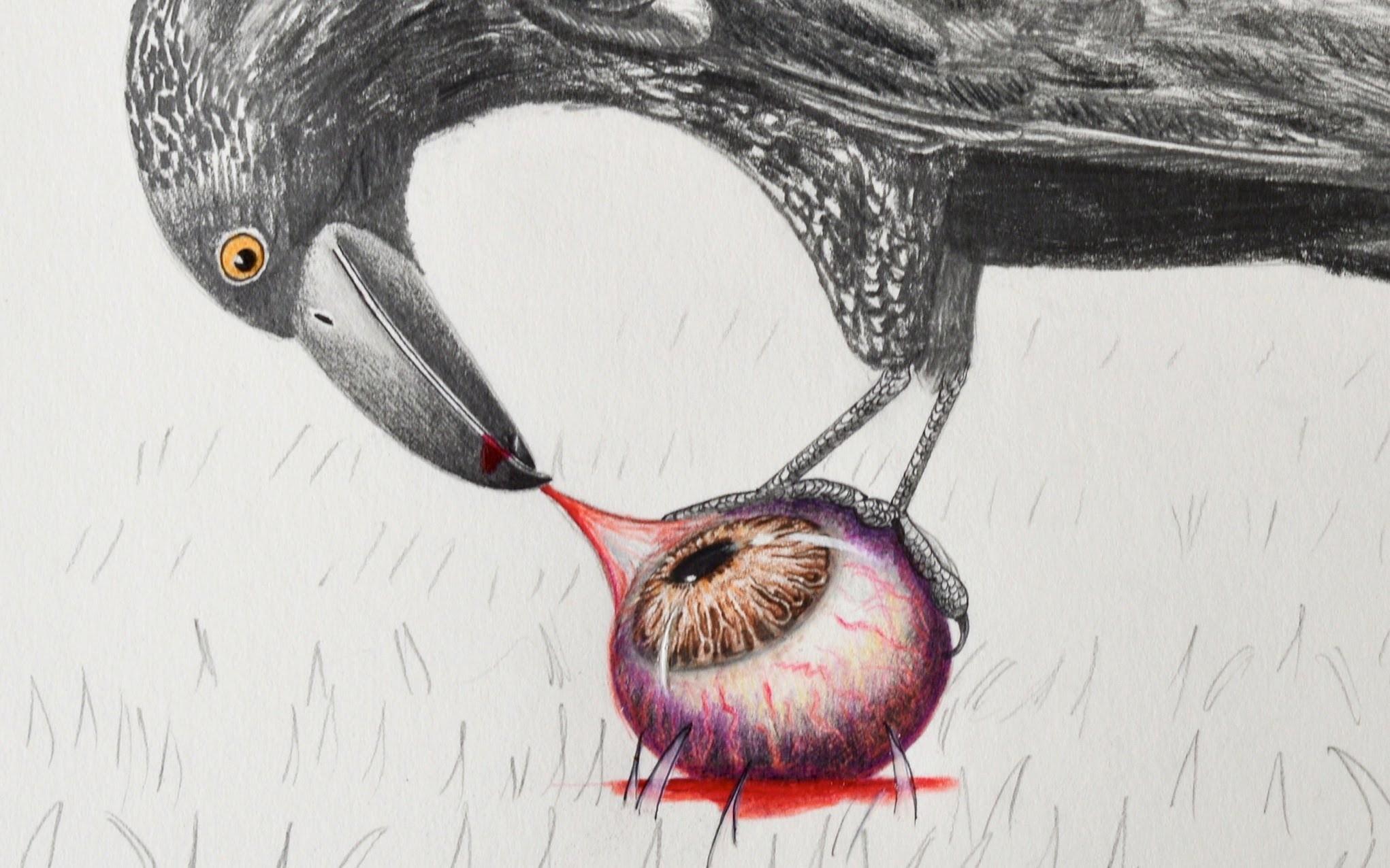 Especial de día de muertos: Un cuervo mordiendo un ojo- Arte Divierte.