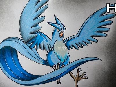 Cómo Dibujar a Articuno de Pokémon Paso a Paso - Tutorial Articuno Pokémon N°10