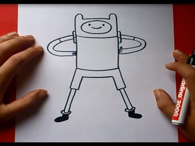 Como dibujar a Finn con cuerpo paso a paso 2 - Hora de aventuras   How to draw Finn 2