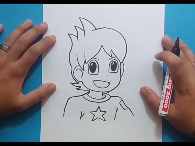 Como dibujar a Nathan paso a paso - Yo Kai Watch   How to draw Nathan - Yo Kai Watch