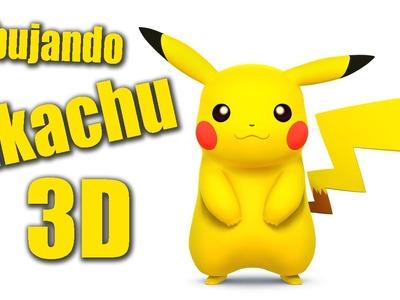 Como dibujar a Pikachu en 3D - Dibujando Pokemon -