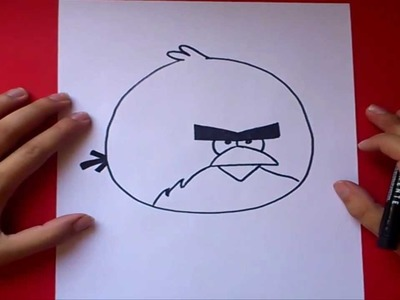 Como dibujar el pajaro rojo gigante paso a paso - Angry birds | How to draw the Giant red bird