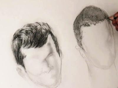 Como Dibujar el Pelo a lápiz: El cabello de los chicos o corto, paso a paso.