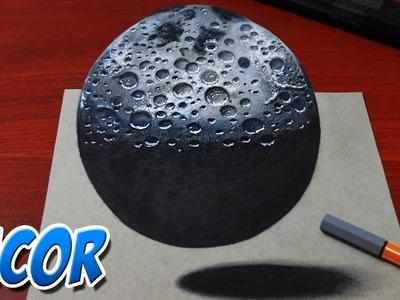 Como Dibujar la Luna en 3D | Dibujo anamorfico