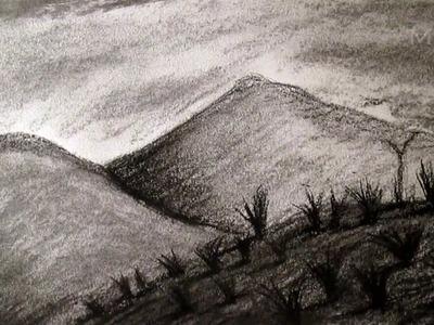Cómo dibujar paisaje al Carboncillo, dibujar paisajes y montañas HD