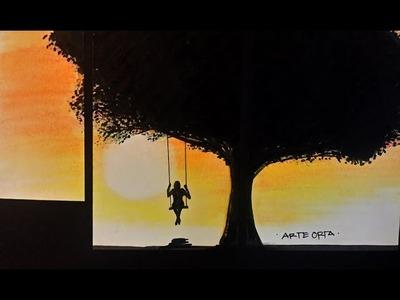 Como dibujar un árbol en un atardecer – 3 maneras de dibujar un árbol- Arte Orta