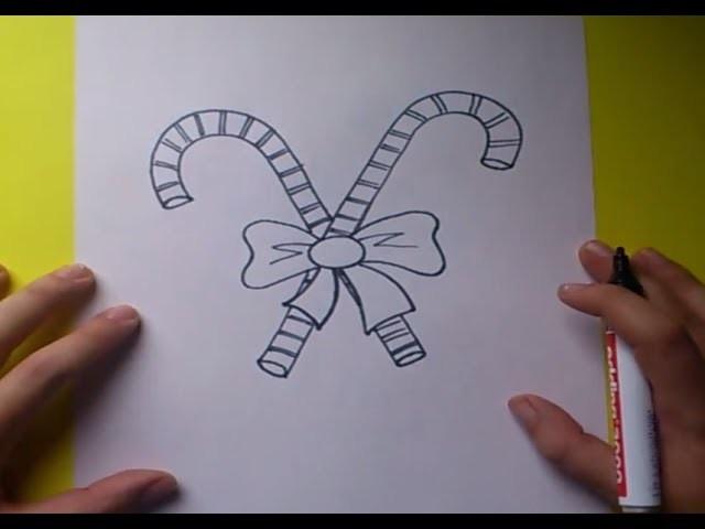 Como dibujar un baston de caramelo paso a paso 2 | How to draw a cane candy 2