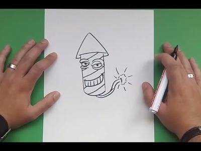 Como dibujar un cohete paso a paso 4 | How to draw a rocket 4