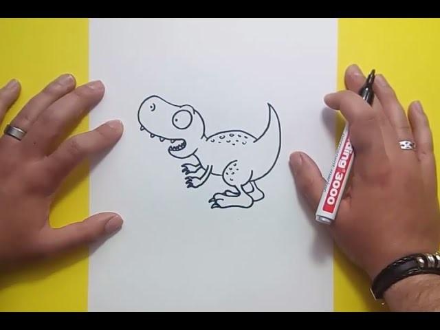 Como dibujar un dinosaurio paso a paso 16   How to draw a dinosaur 16