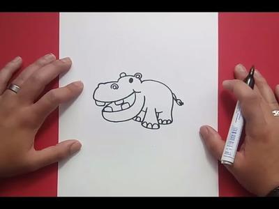 Como dibujar un hipopotamo paso a paso 3   How to draw a hippopotamus 3
