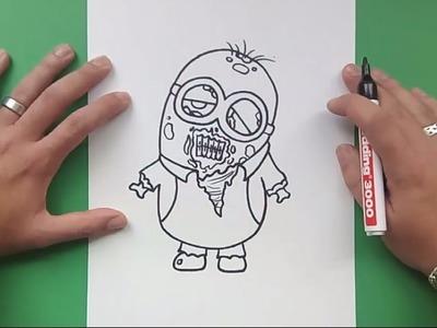 Como dibujar un minion zombie paso a paso - Minions | How to draw a zombie minion - Minions