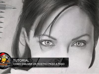 Como dibujar un rostro a lapiz paso a paso FÁCIL I Tutorial dibujando a Angelina Jolie