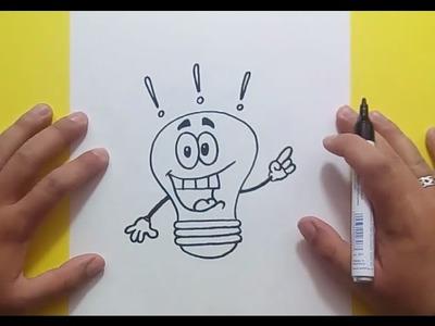 Como dibujar una bombilla paso a paso 3 | How to draw a bulb 3