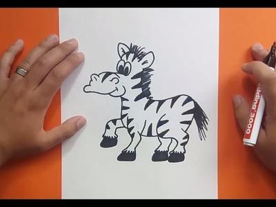 Como dibujar una cebra paso a paso | How to draw a zebra