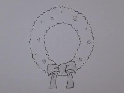 Cómo dibujar una corona de Navidad