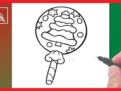 Cómo Dibujar Una Paleta De Navidad - Drawing a Christmas lollipop