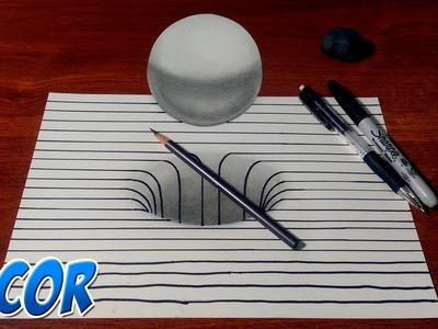 Dibujando un Hoyo y Esfera 3D con Lineas