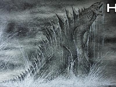 Dibujo Épico de Godzilla 2014 Saliendo del Mar - Versión Rápida