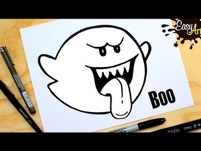SUPER MARIO BROS.Como dibujar el fantasma  Boo.how to draw a ghost Boo