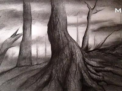 Árbol al carboncillo, cómo dibujar árboles HD
