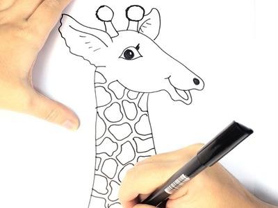 Cómo dibujar una jirafa para niños Paso a paso y muy fácil