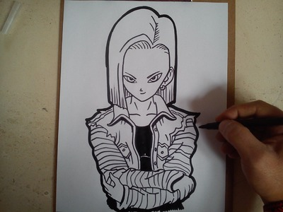 Como dibujar a androide numero 18. how to draw Android number 18