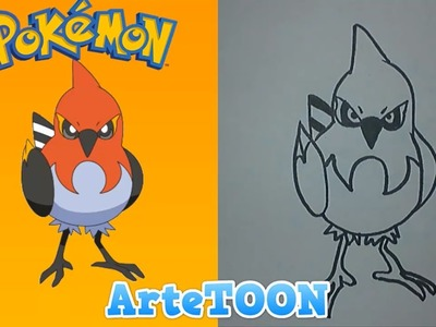 Como dibujar a Fletchinder de ash paso a paso | how to draw fletchinder  ash step by step