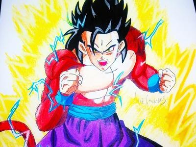 COMO DIBUJAR A GOHAN SSJ 4 - Dragon Ball Heroes How To Draw Gohan ssj 4