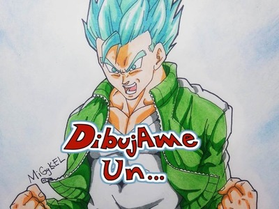 Como Dibujar a GOHAN SSJ dios SSJ azul. How to Draw GOHAN SSj God SSj (blue hair)